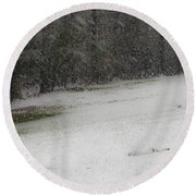 Snowy Patriot Quantico National Cemetery Round Beach Towel