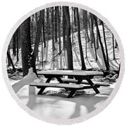 Snowy Picnic Table In Black And White Round Beach Towel