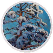 Snowy Pine-tree Round Beach Towel