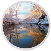 Snowy Refections Round Beach Towel