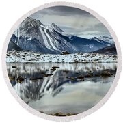 Snowy Reflections In Medicine Lake Round Beach Towel