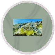 Snowy Rock Mountain Round Beach Towel