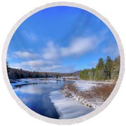 Snowy Shore Of The Moose River Round Beach Towel