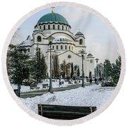 Snowy St. Sava Temple In Belgrade Round Beach Towel