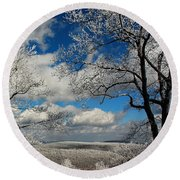Snowy Sunday Round Beach Towel