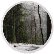 Snowy Trail Quantico National Cemetery Round Beach Towel