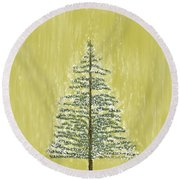 Snowy Tree Round Beach Towel