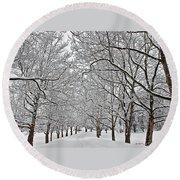 Snowy Treeline Round Beach Towel