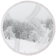 Snowy Trees - 4 Round Beach Towel