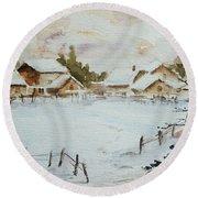 Snowy Village Round Beach Towel