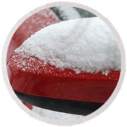 Snowy Wing Mirror Round Beach Towel