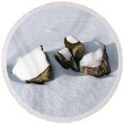 Snowy Zen Round Beach Towel