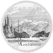 Snug Harbor Alaska Anchorage Round Beach Towel