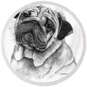 Snuggly Puggly Round Beach Towel
