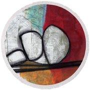 So We Begin- Abstract Art Round Beach Towel