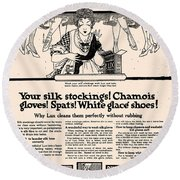 Your Silk Stockings Vintage Soap Ad Round Beach Towel