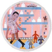 Soap Scene #16 Miracle Maids Round Beach Towel