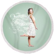 Soap Suds Pin Up Girl Round Beach Towel