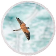 Soaring Above The Churning Sea Round Beach Towel
