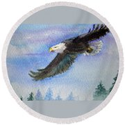 Soaring Eagle Round Beach Towel
