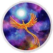 Soaring Firebird In A Cosmic Sky Round Beach Towel