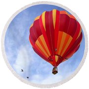 Soaring With The Birds Round Beach Towel