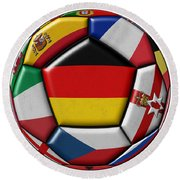 Soccer Ball With Flag Of German In The Center Round Beach Towel