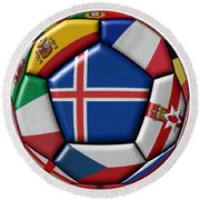 Soccer Ball With Flag Of Iceland In The Center Round Beach Towel