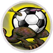 Soccer Saurus Rex Round Beach Towel