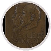 Soci?t? Nationale Des Beaux-arts: Jean-louis Ernest Meissonier And Pierre Puvis De Chavannes [obverse] Round Beach Towel