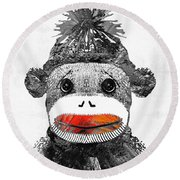 Sock Monkey Art In Black White And Red - By Sharon Cummings Round Beach Towel