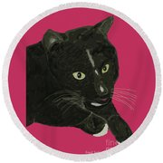 Socks Portrait Round Beach Towel