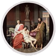 Socrates Chiding Alcibiades Round Beach Towel