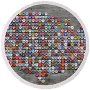 Soda Pop Bottle Cap Map Of The United States Of America Round Beach Towel