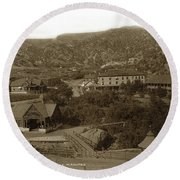 Soda Springs And Cliff House In Manitou, Colorado Round Beach Towel