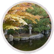 Soft Autumn Pond Round Beach Towel