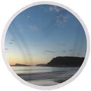 Soft Blue Dawn Seascape Round Beach Towel