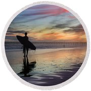 Surfing The Shadows Of Light Round Beach Towel