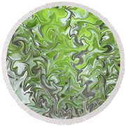 Soft Green And Gray Abstract Round Beach Towel