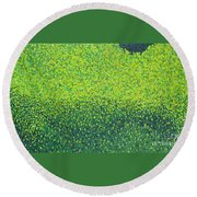 Soft Green Wet Trees Round Beach Towel