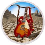 Soft Guitar II Round Beach Towel
