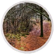 Soft Light In The Woods Round Beach Towel