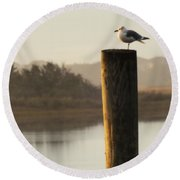 Soft Mornings Round Beach Towel by Karen Wiles