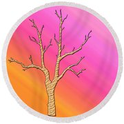 Soft Pastel Tree Abstract Round Beach Towel