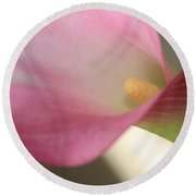 Soft Pink Calla Lily Round Beach Towel