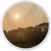 Soft Pink Mists Of Summer Round Beach Towel