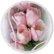 Soft Pink Tulips Round Beach Towel