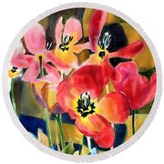Soft Quilted Tulips Round Beach Towel