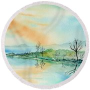 Soft Reflections  Round Beach Towel