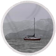 Soft Sailboat Stormy Lake Round Beach Towel